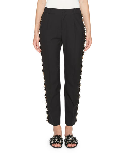 Slim Ankle Pants with Metallic Fringe Trim, Black