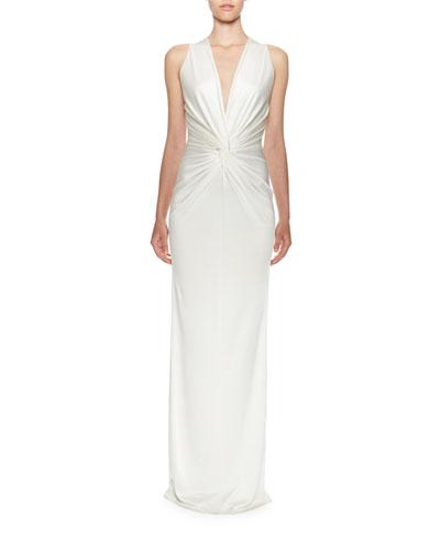 Sleeveless V-Neck Twisted-Waist Gown, Ivory