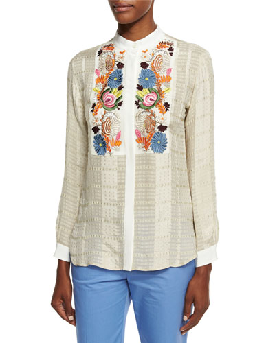 Floral-Embroidered Check Blouse, Ivory