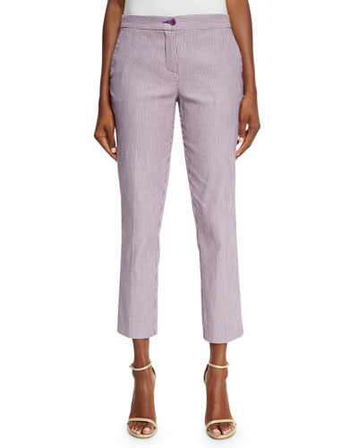 Striped Straight-Leg Capri Pants, Lilac/White