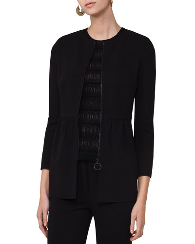 Zip-Front Long Peplum Jacket, Black