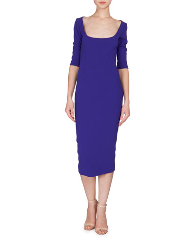 3/4-Sleeve Scoop-Neck Midi Dress