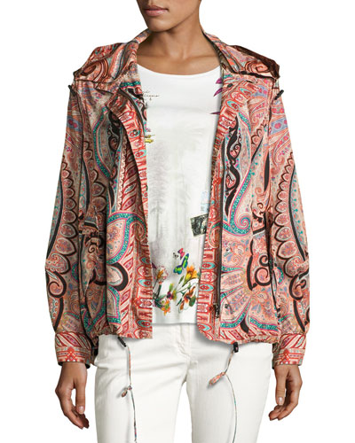 Paisley Hooded Drawstring Jacket, Orange/Black