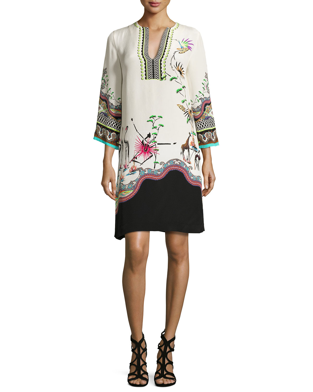 Tropical-Print Split-Neck Tunic Dress