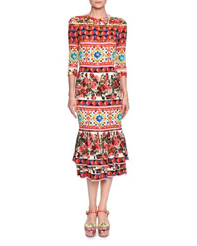 Maiolica-Print Elbow-Sleeve Midi Dress, Pink/Multi