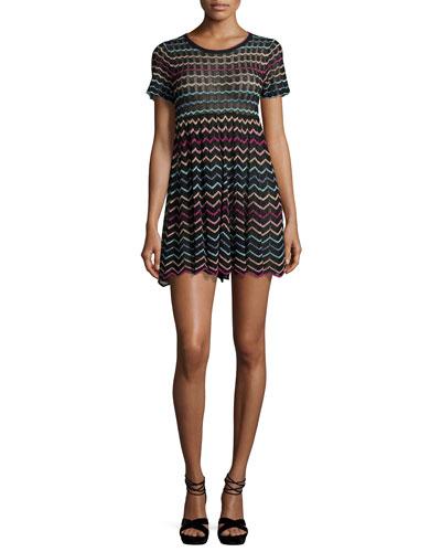 Chevron Knit Babydoll Dress, Black
