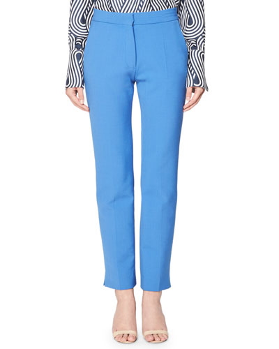 Victoria Flat-Front Skinny Pants, Blue