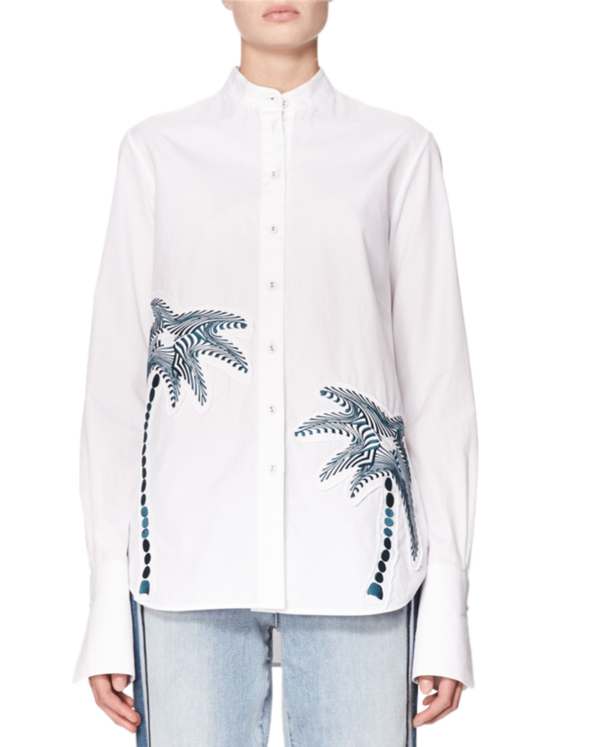 Palm Tree Embroidered Shirt, White