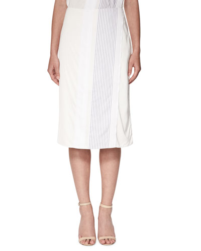 Mock-Wrap Midi Skirt with Stripes, White/Navy
