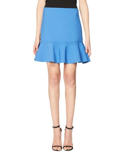Flounce-Hem Miniskirt, Blue