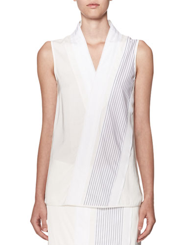 Sleeveless V-Neck Georgette Top with Diagonal Stripes, White/Navy
