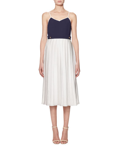 Sleeveless Pleated Midi Dress, Navy/White