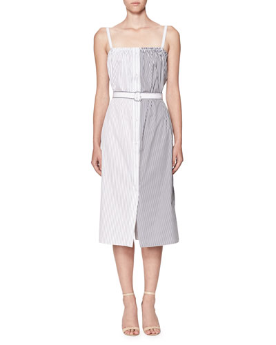 Striped Button-Front Sleeveless Midi Sundress with Belt, Blue/White