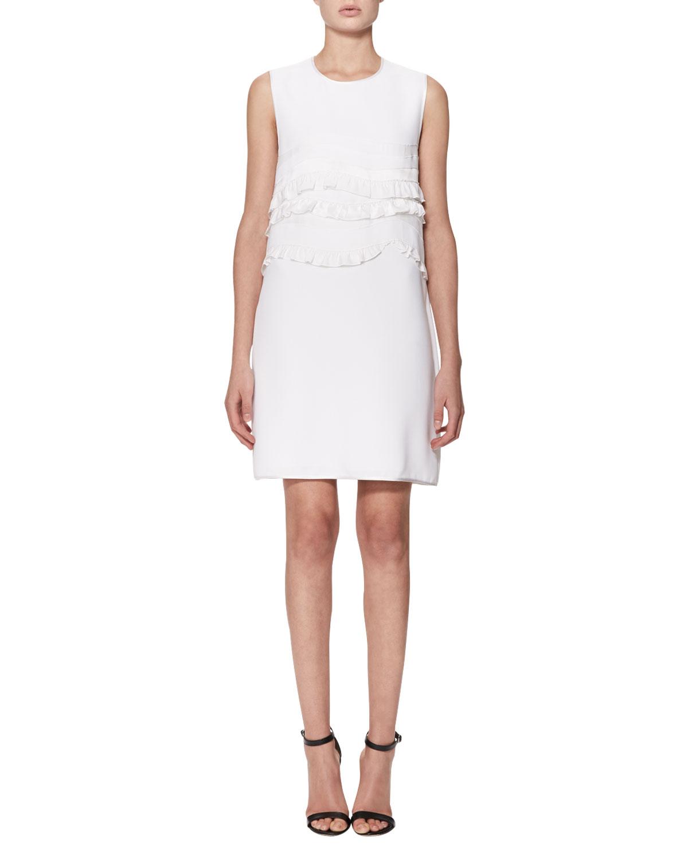 Sleeveless Ruffle-Trim Shift Dress, White