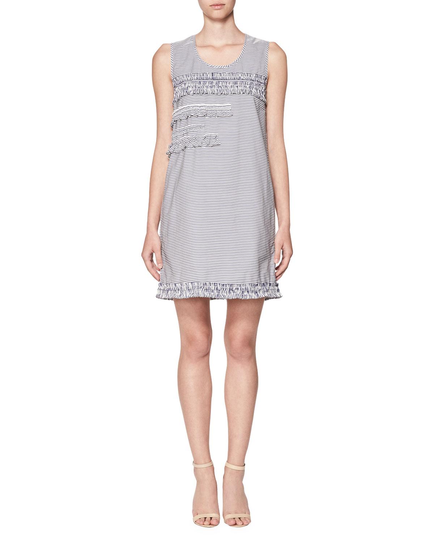 Scoop-Neck Striped Ruffle-Trim Shift Dress, Blue/White