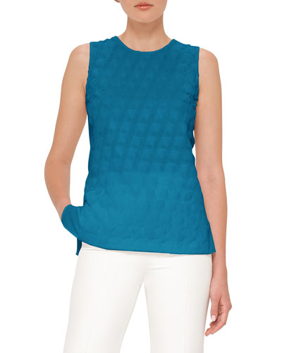 Trapezoid Crepe Sleeveless Blouse, Whirl Away