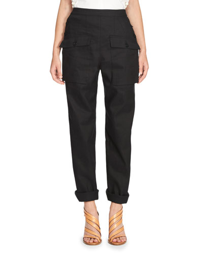 Patch-Pocket Straight-Leg Pants, Dark Blue