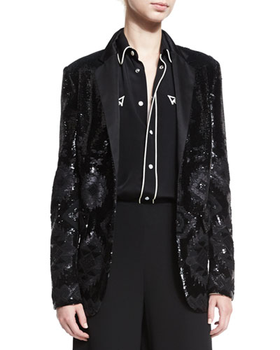 Tess Geometric-Beaded Tuxedo Jacket, Black