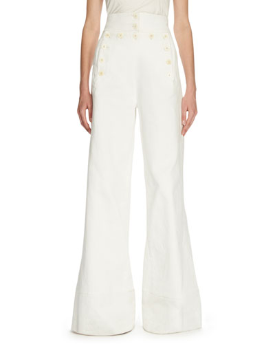 Sailor-Button High-Waist Jeans, White