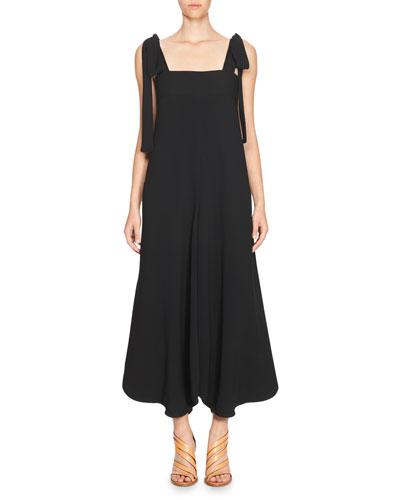 Bow-Shoulder Sleeveless Jumpsuit, Black