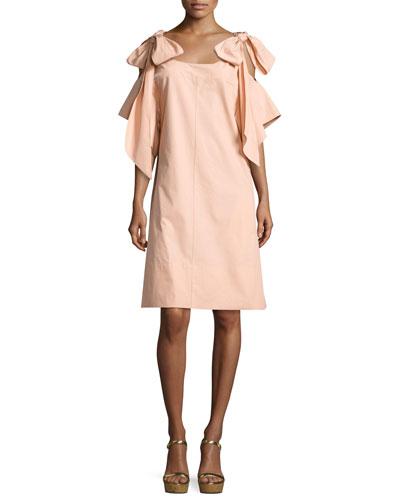 Bow-Shoulder Half-Sleeve Dress, Peach