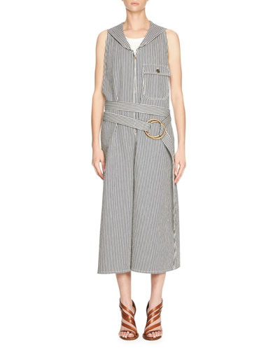 Striped Denim Belted Jumpsuit, Blue/White