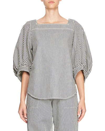 Striped Denim Square-Neck Blouse, Blue/White