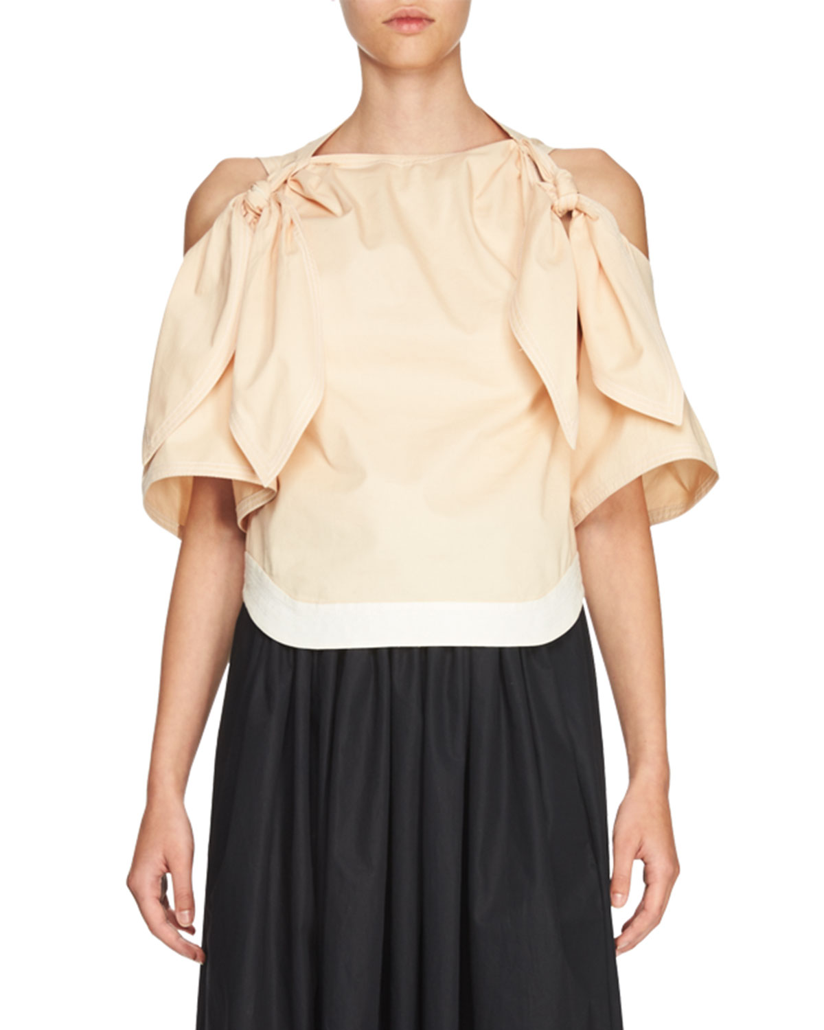 Bow Cold-Shoulder Blouse, Light Pink