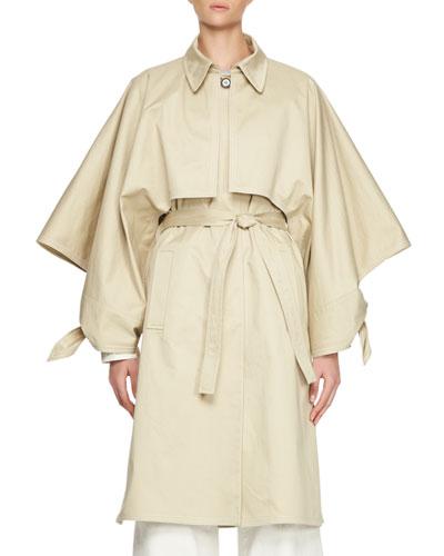 Gabardine Button-Front Trenchcoat, Sand