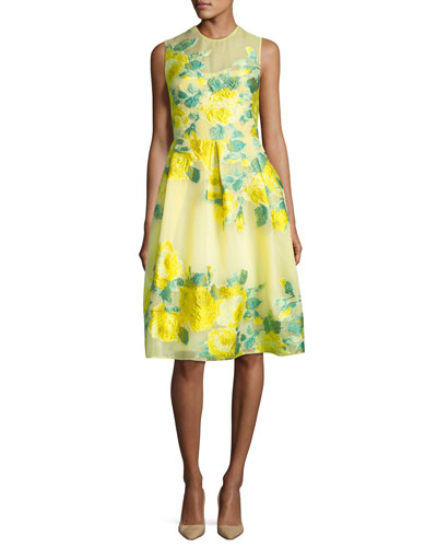 Floral Fil Coupe Full-Skirt Dress, Yellow