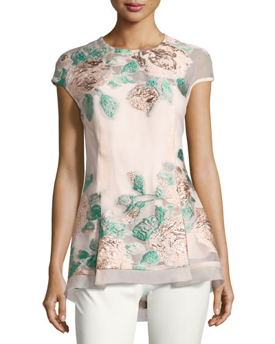 Floral Fil Coupe High-Low Top, Blush