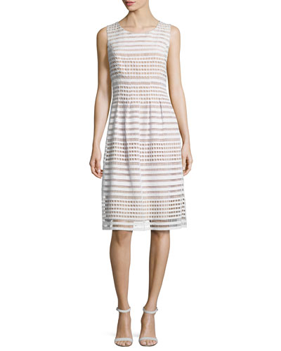 Windowpane-Lace Sleeveless Dress, White