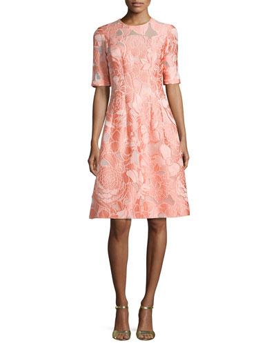 Floral Fil Coupe Half-Sleeve Dress, Light Pink