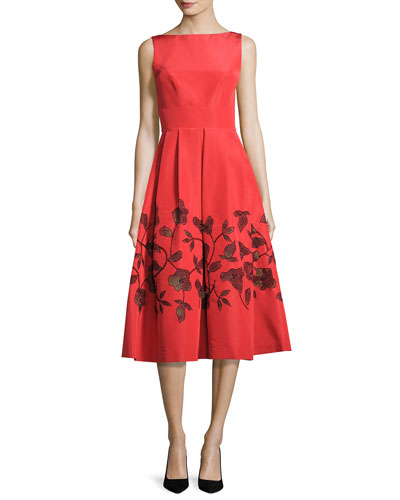Embellished Laser-Cut Floral Dress, Coral