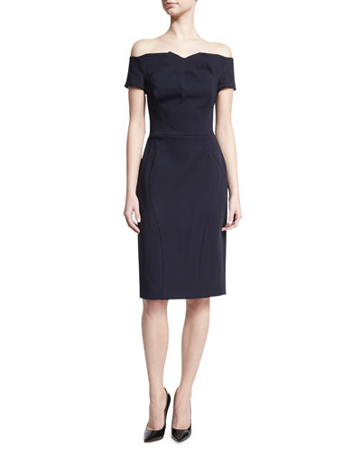 Off-the-Shoulder Crepe Sheath Dress, Navy
