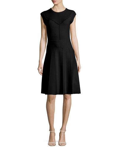 Pointelle Knit Cap-Sleeve Dress, Black