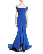 Scoop Off-the-Shoulder Trumpet Gown, Blue