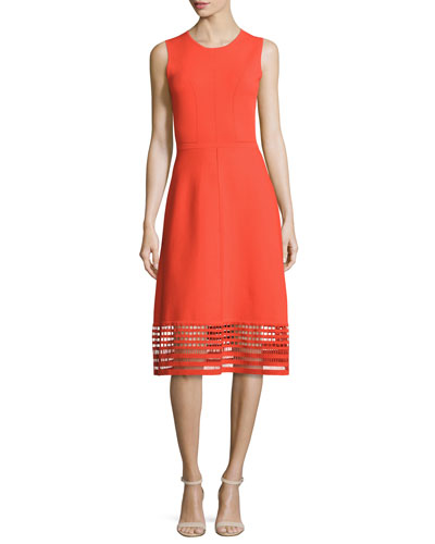 Sleeveless Dress w/Windowpane Lace Hem, Coral