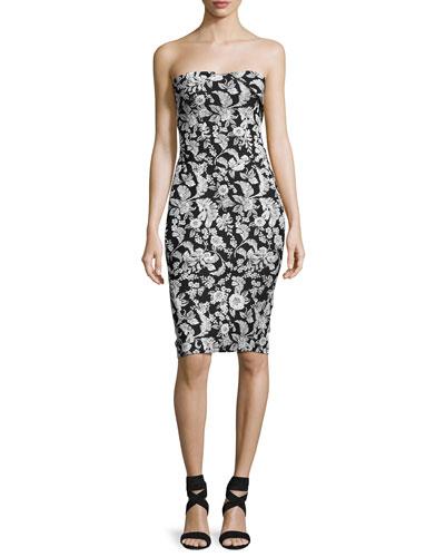 Strapless Floral Jacquard Party Dress, Black/White