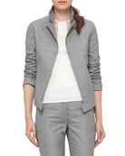 Structured Long-Sleeve Jacket, Silver Charm