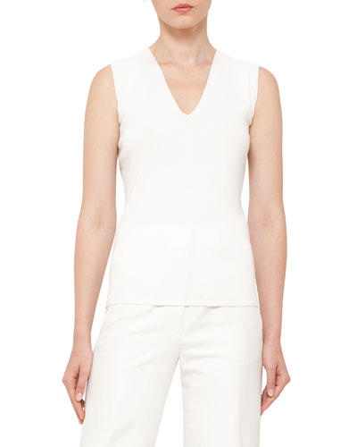 V-Neck Knit Tank, Moonstone