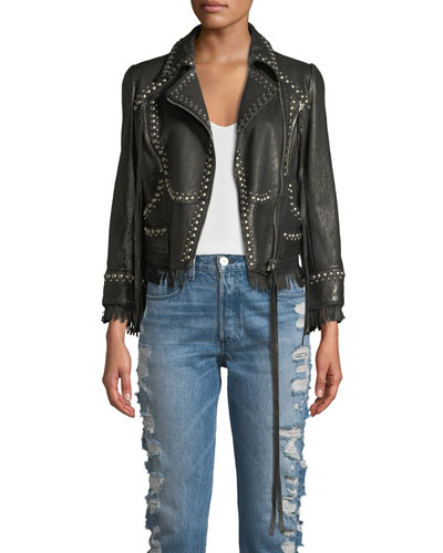 Zip-Front Studded Leather Jacket w/ Fringe Trim