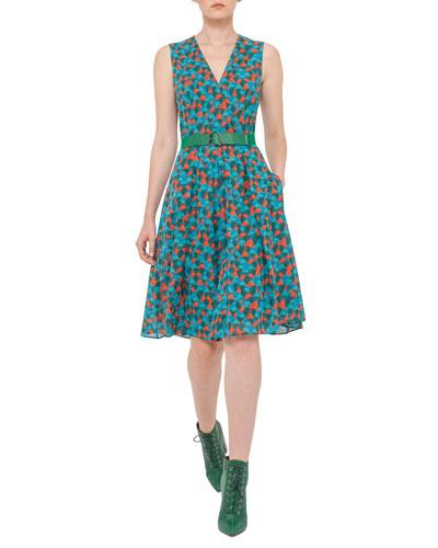 Ai-Print Sleeveless A-Line Dress, Multi