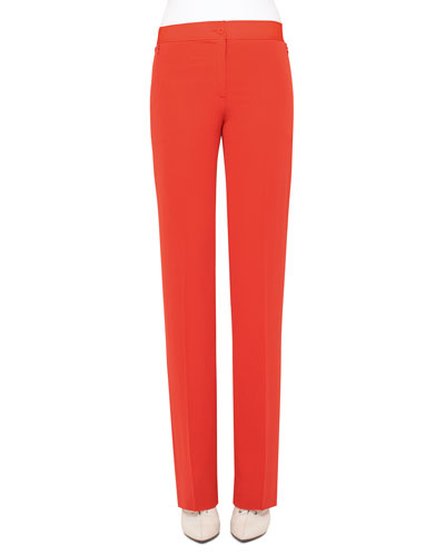 Carl Straight-Leg Silk Pants, Rojo