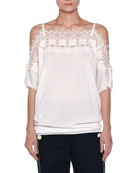 Lace-Trim Off-the-Shoulder Top, White