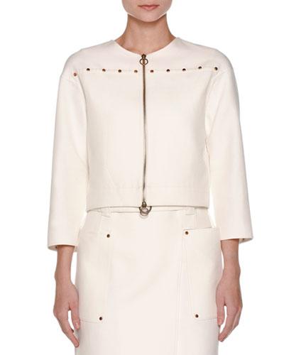 Cabochon-Trim Boxy Jacket, White