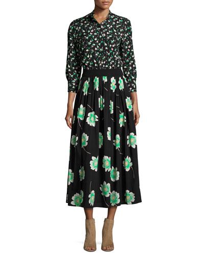 Mixed-Floral 3/4-Sleeve Midi Shirtdress, Black