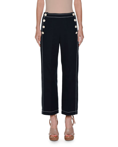 Sailor-Button Cropped Pants, Blue