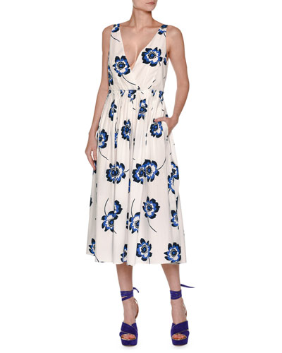 Poppy-Print Sleeveless V-Neck Midi Dress, Navy/White