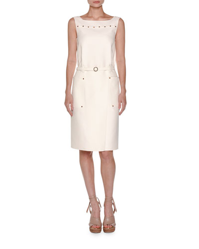 Cabochon-Trim Sleeveless Dress, White